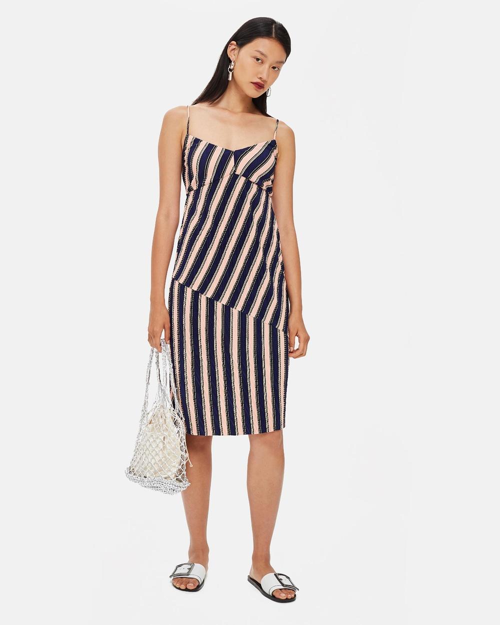 TOPSHOP Mix Stripe Slip Dress Dresses Multi Mix Stripe Slip Dress