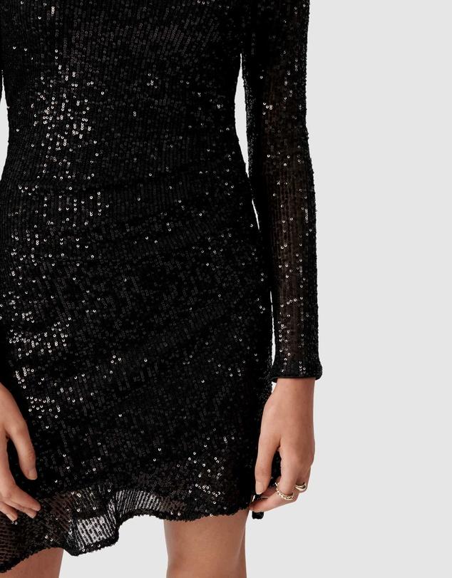 Women Delora Draped Long Sleeve Sequin Mini Dress