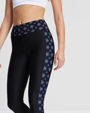 Snuxe Snow Flower Performance Leggings - all compression (Black)
