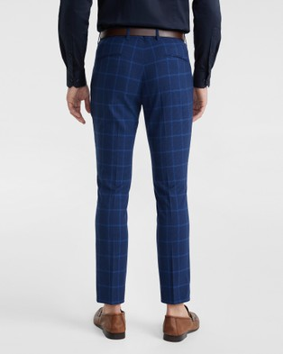 yd. Wolfe Check Skinny Dress Pant - Suits & Blazers (BLUE)