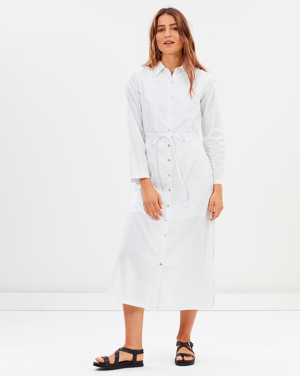 Tee Ink Bayside Maxi Shirt Dress Dresses White Bayside Maxi Shirt Dress