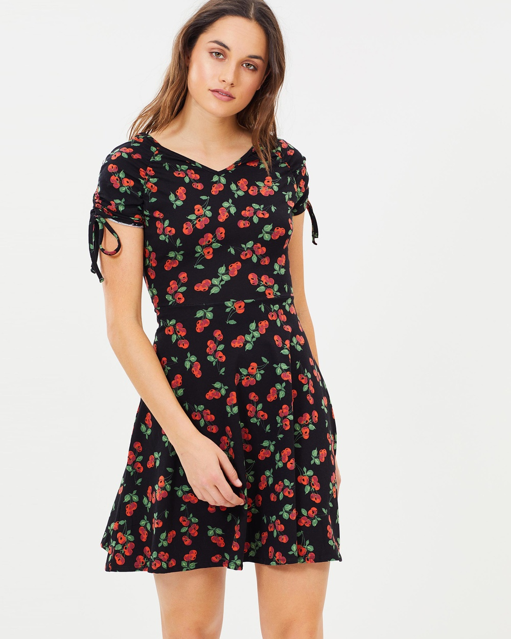 Dorothy Perkins Cherry Drawstring Skater Dress Printed Dresses Navy Blue Cherry Drawstring Skater Dress