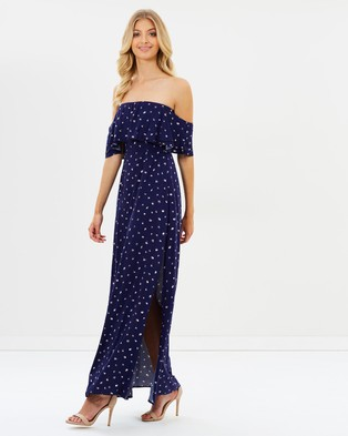 Atmos & Here – Billie Double Ruffle Maxi Dress – Printed Dresses Navy Base Mini Floral