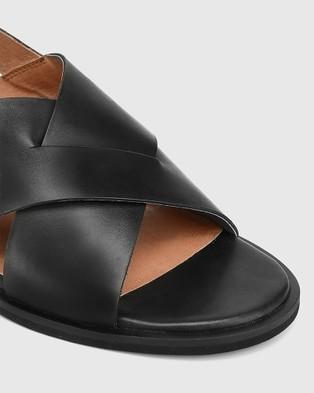 Wittner Jonie Leather Block Heel Cross Strap Sandals - Sandals (Black)