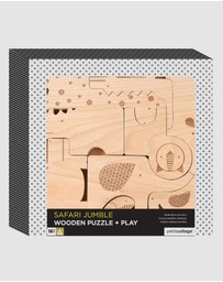 Petit Collage - Safari Wood Puzzle & Play Set