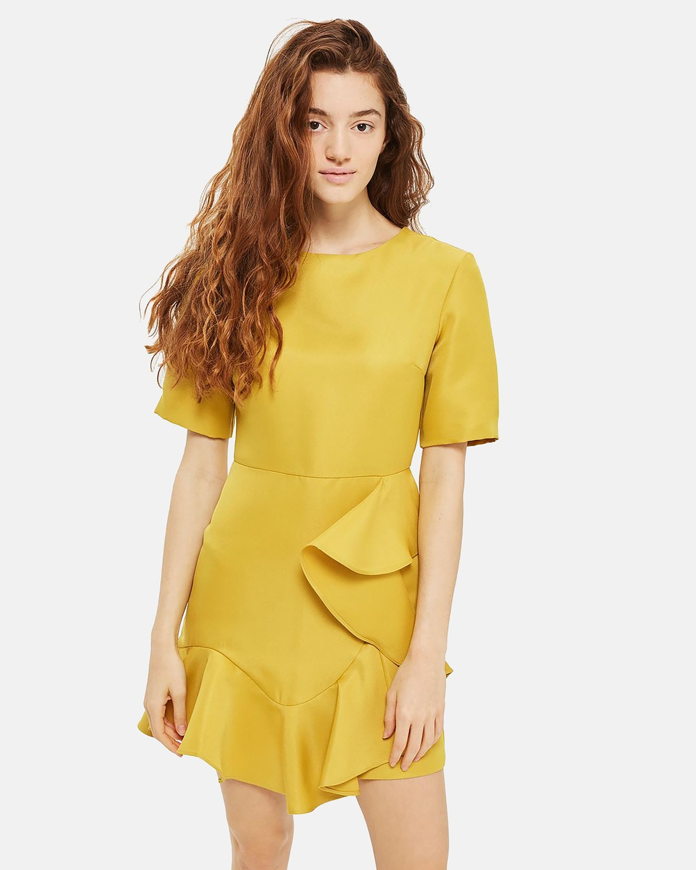 TOPSHOP Frill Front Satin Mini Dress Dresses Lime Frill Front Satin Mini Dress