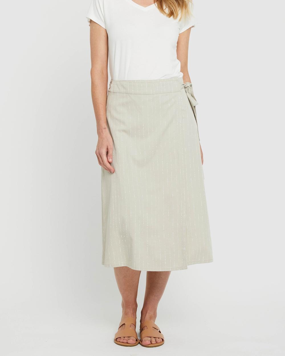 Bamboo Body Woven Wrap Skirt Skirts Organic Pinstripe