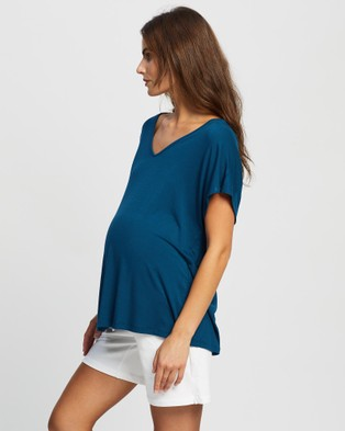 Angel Maternity Maternity Top - T-Shirts & Singlets (Deep Cyan)