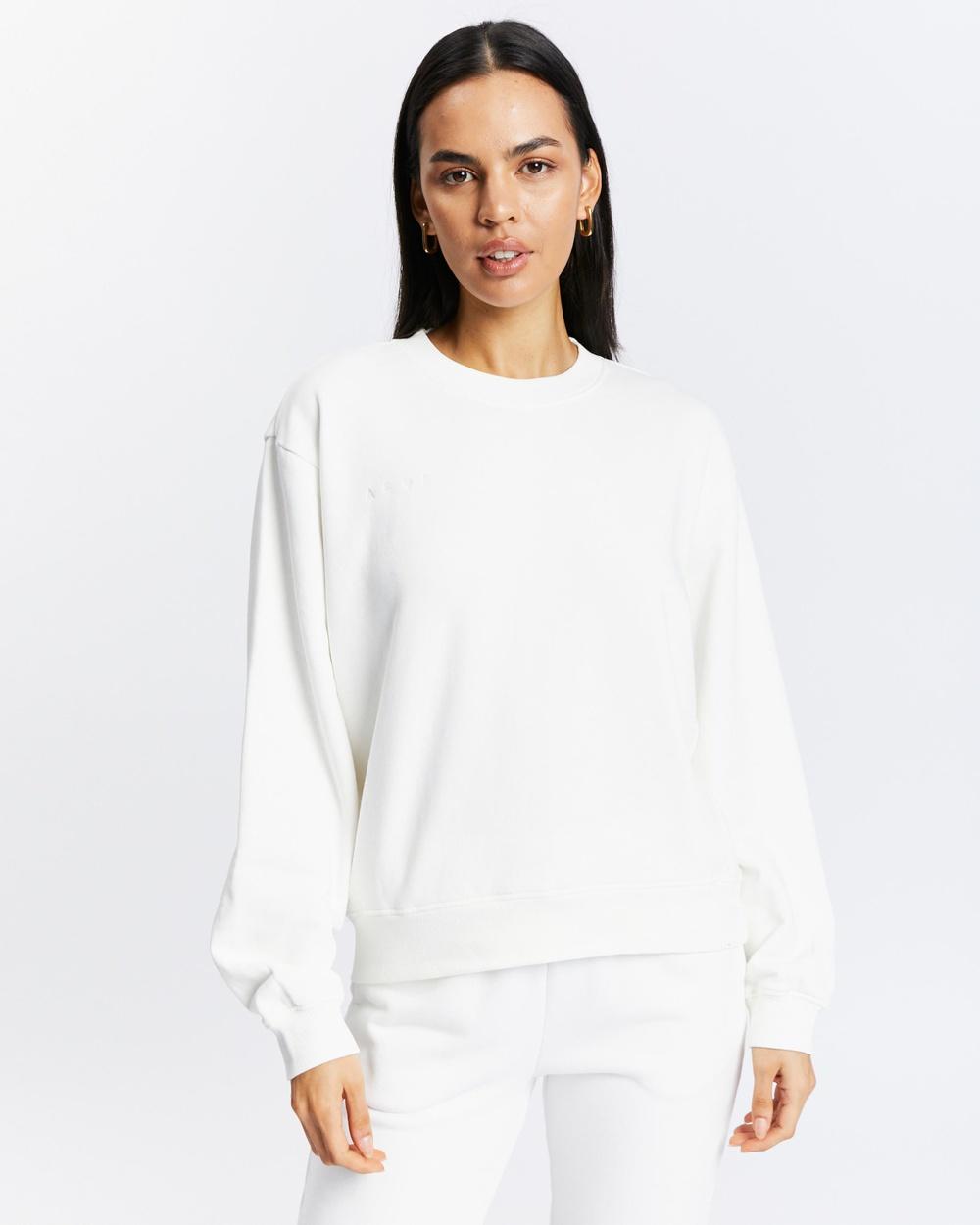 AERE Organic Cotton Sweat Top Sweats White