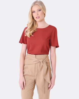 Forcast – Rhea Round Neck Top Rust