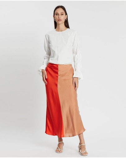 C/meo Collective Thoughtful Skirt Vermilion With Tan