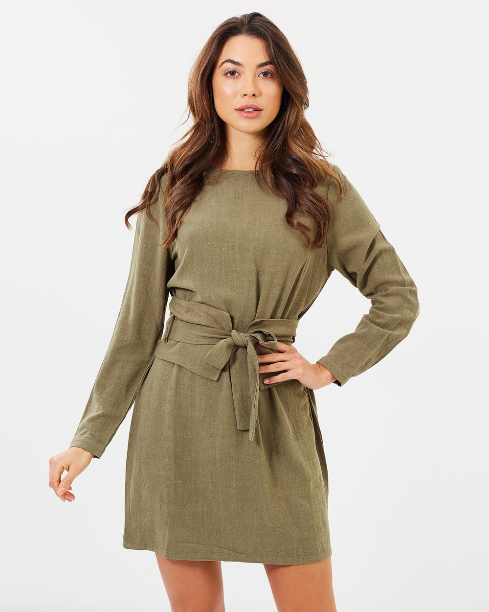 Atmos & Here ICONIC EXCLUSIVE Sierra Belted Dress Dresses Khaki ICONIC EXCLUSIVE Sierra Belted Dress