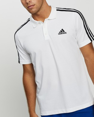 adidas Performance 3 Stripes Polo Shirt - Shirts & Polos (White & Black)