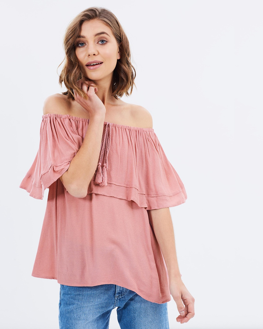 Sass Ellis Ruffle Off Shoulder Top Tops Lotus Ellis Ruffle Off Shoulder Top