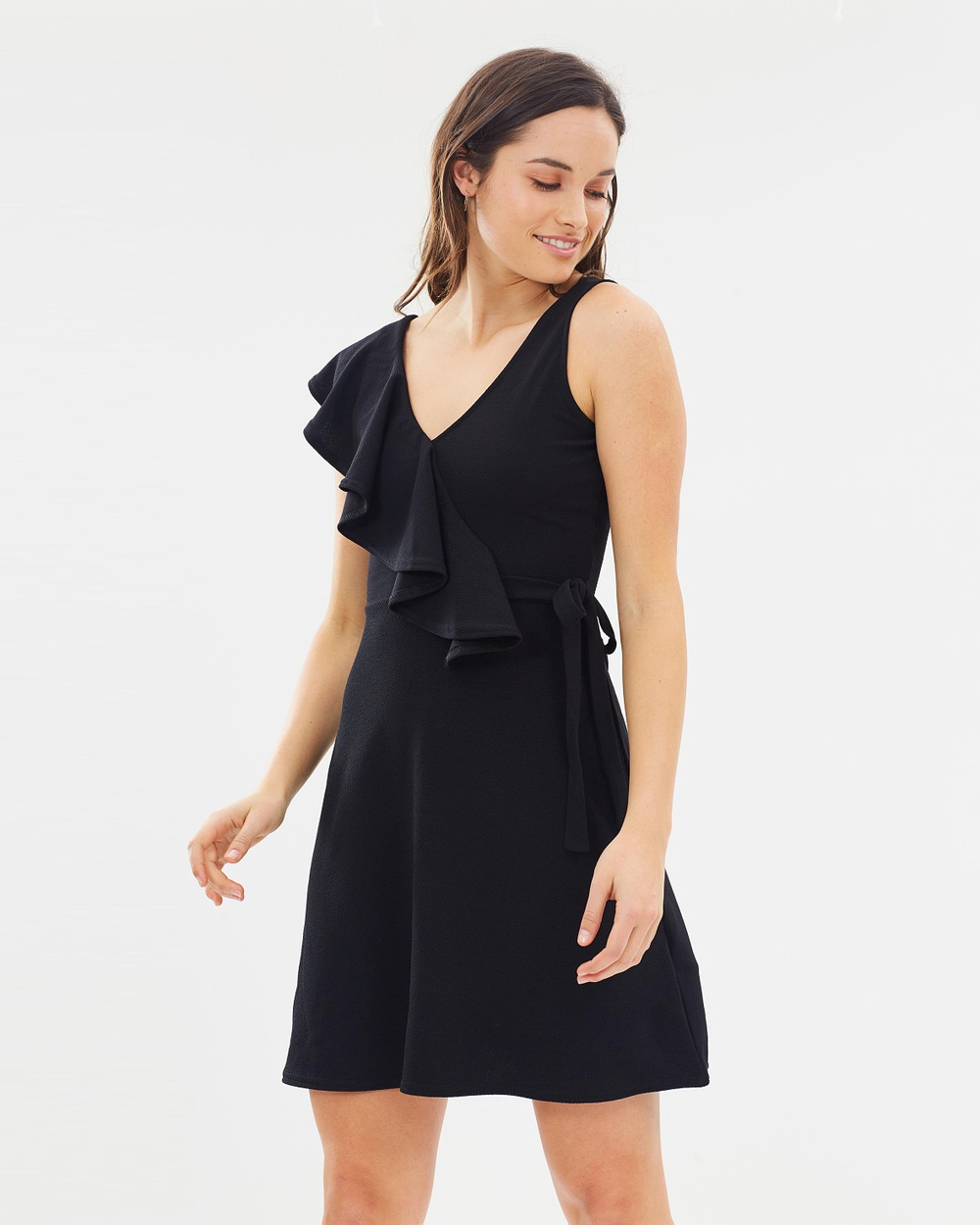 Lost Ink Frill Shoulder Tie Waist Fit and Flare Dress Dresses Black Frill Shoulder Tie Waist Fit-and-Flare Dress