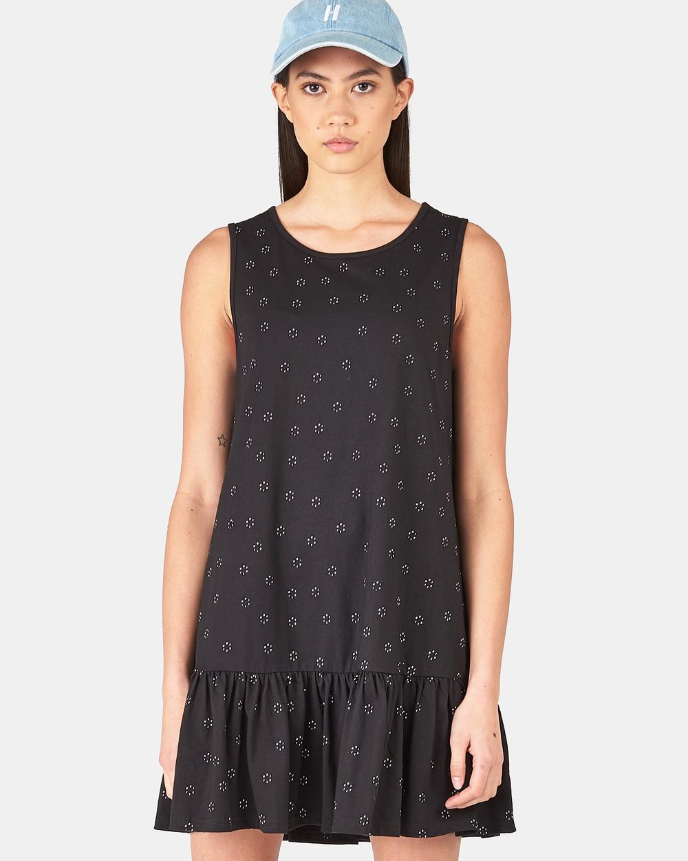 Huffer HFR SPOT PORT DRESS Dresses BLACK HFR SPOT PORT DRESS