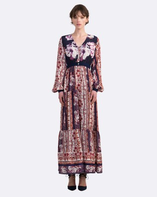 Coco Ribbon – Silk Peasant Maxi Dress – Dresses (Navy Floral, Red Chinoiserie)