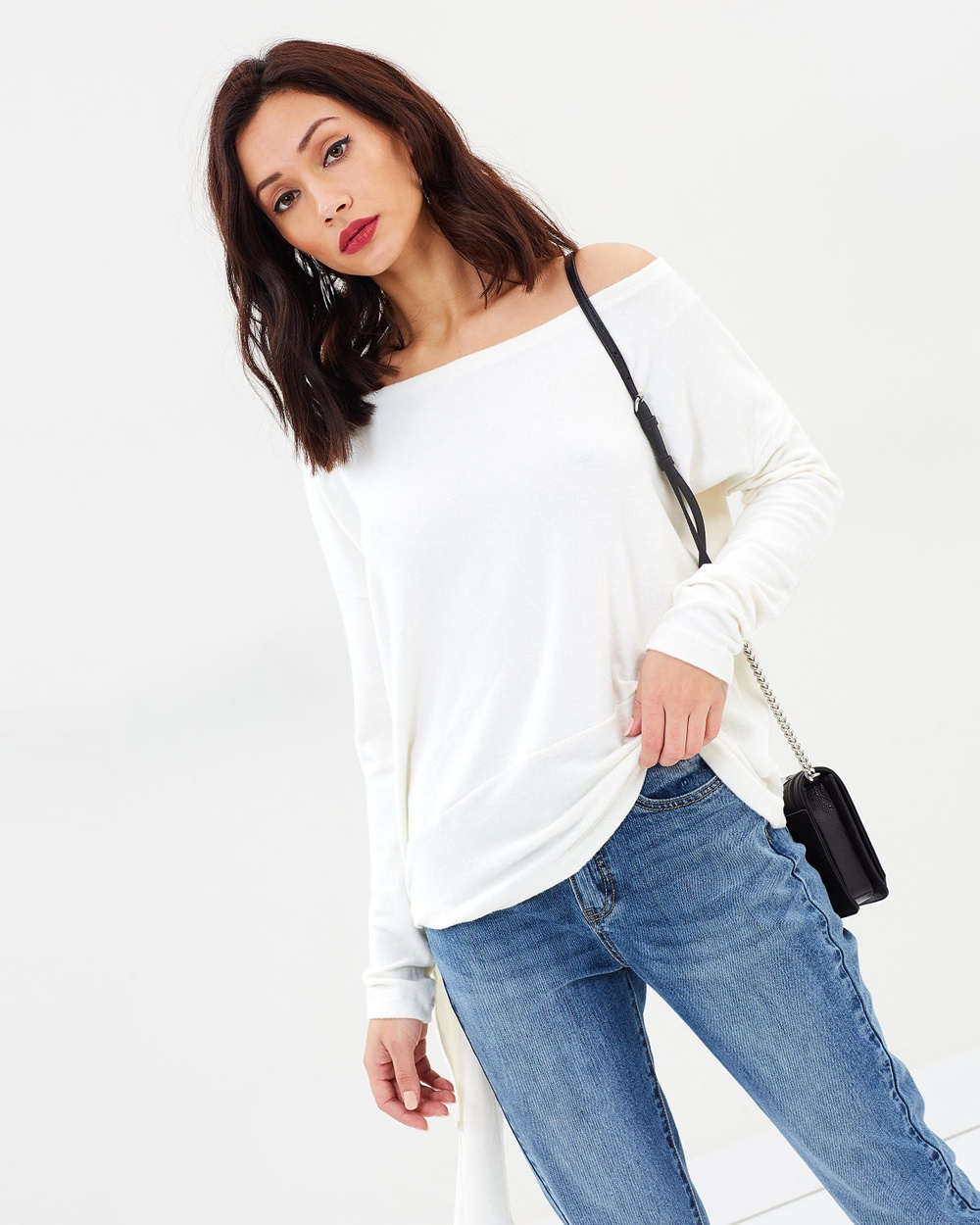 Missguided Brushed Off Shoulder Top Tops Cream Brushed Off Shoulder Top