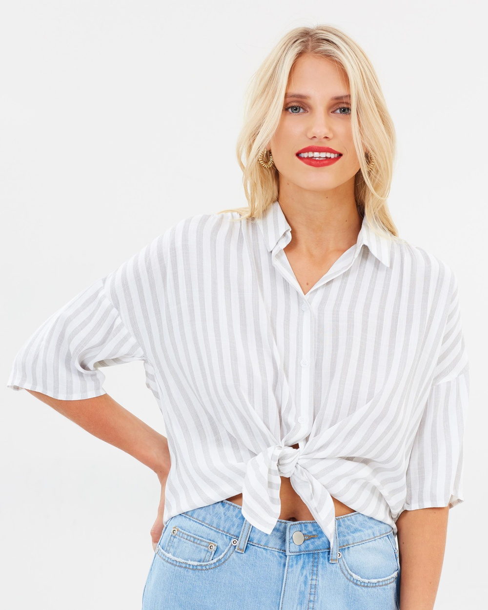 Atmos & Here ICONIC EXCLUSIVE Lucy Button Shirt Tops Neutral Stripe ICONIC EXCLUSIVE Lucy Button Shirt