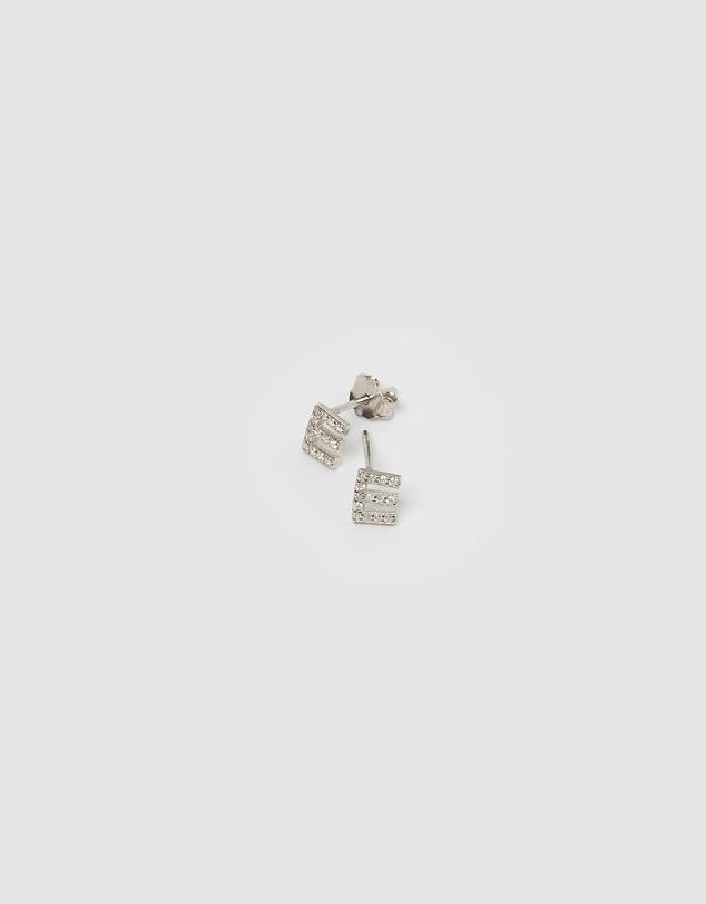 Women Alphabet Mini Letter E Stud Earrings Silver