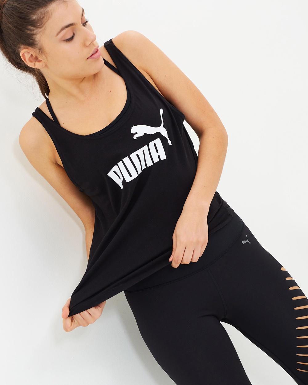 Puma Essential Logo Tank Muscle Tops Cotton Black Australia