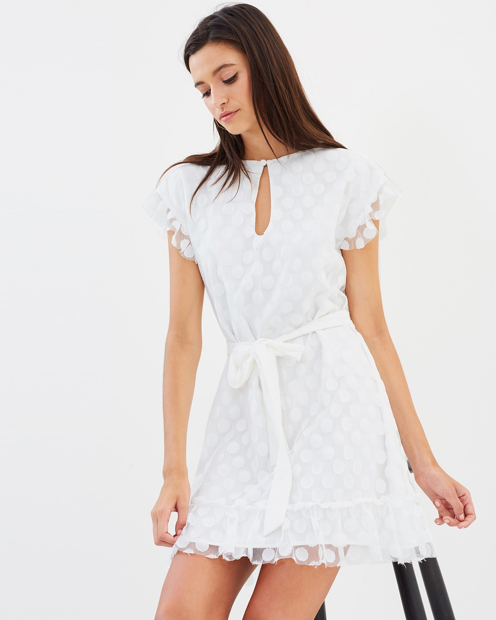 Dazie Elea Mesh Spot Keyhole Frill Dress Dresses White Elea Mesh Spot Keyhole Frill Dress