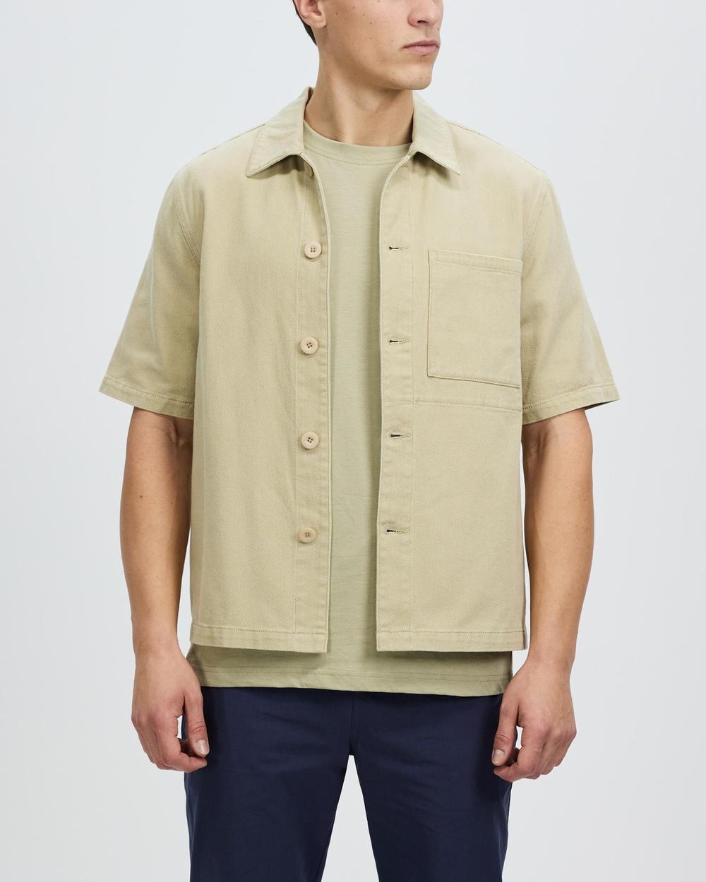AERE Organic Twill SS Overshirt Casual shirts Sand