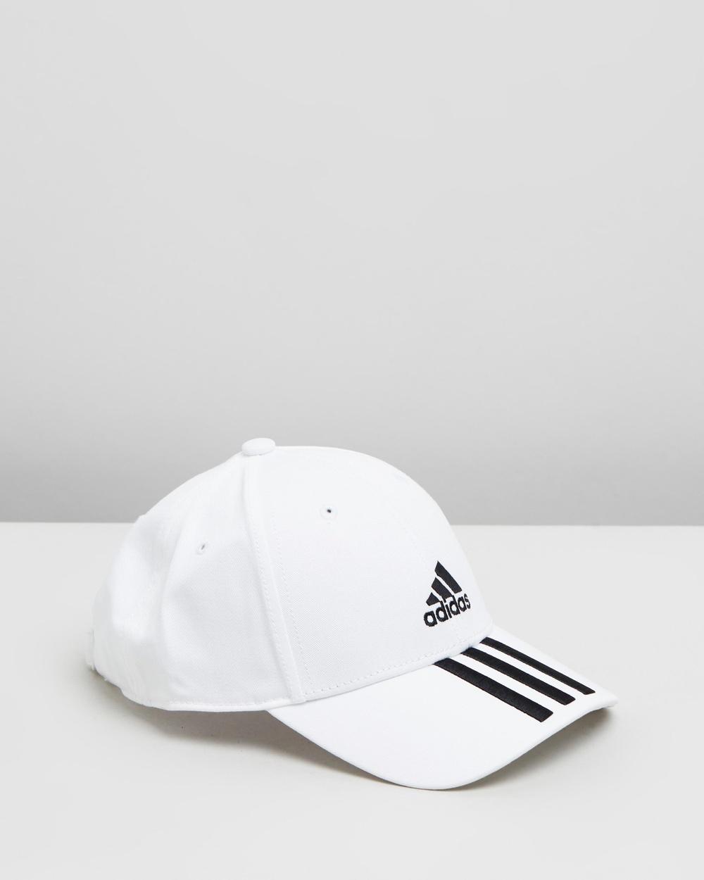 adidas Performance 3 Stripes Twill Cap Headwear White & Black 3-Stripes