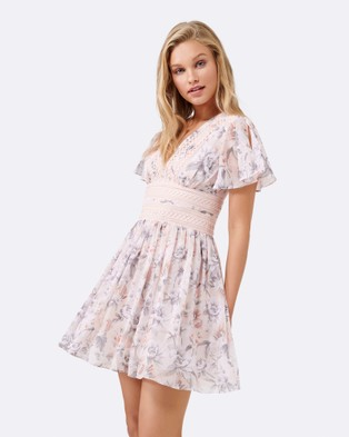 Forever New – Demi Lace Trim Dress Peach Posy Print