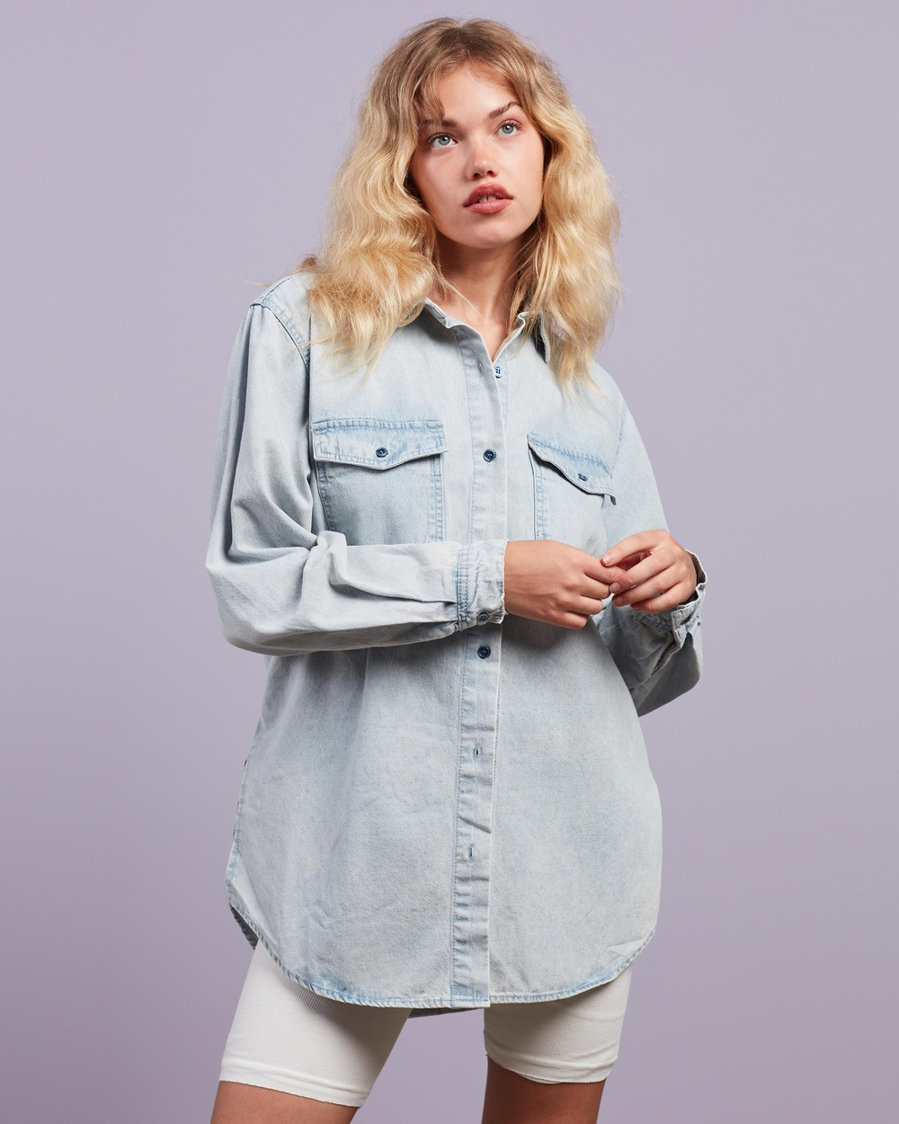 Missguided Boyfriend Fit Oversized Denim Shirt Tops Blue Australia