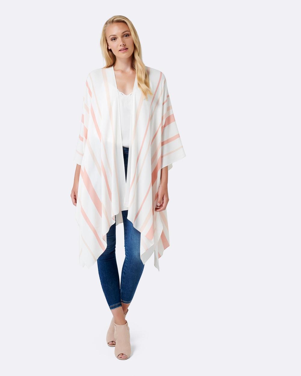 Forever New Jas Stripe Long Kimono Tops White Jas Stripe Long Kimono