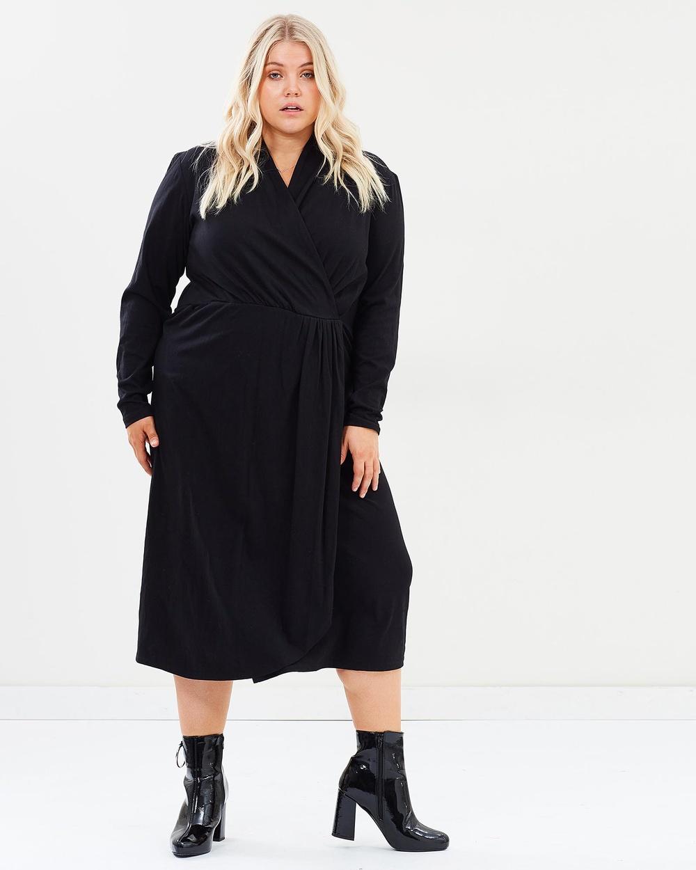 Hope & Harvest Brooklyn Midi Wrap Dress Dresses Black Brooklyn Midi Wrap Dress