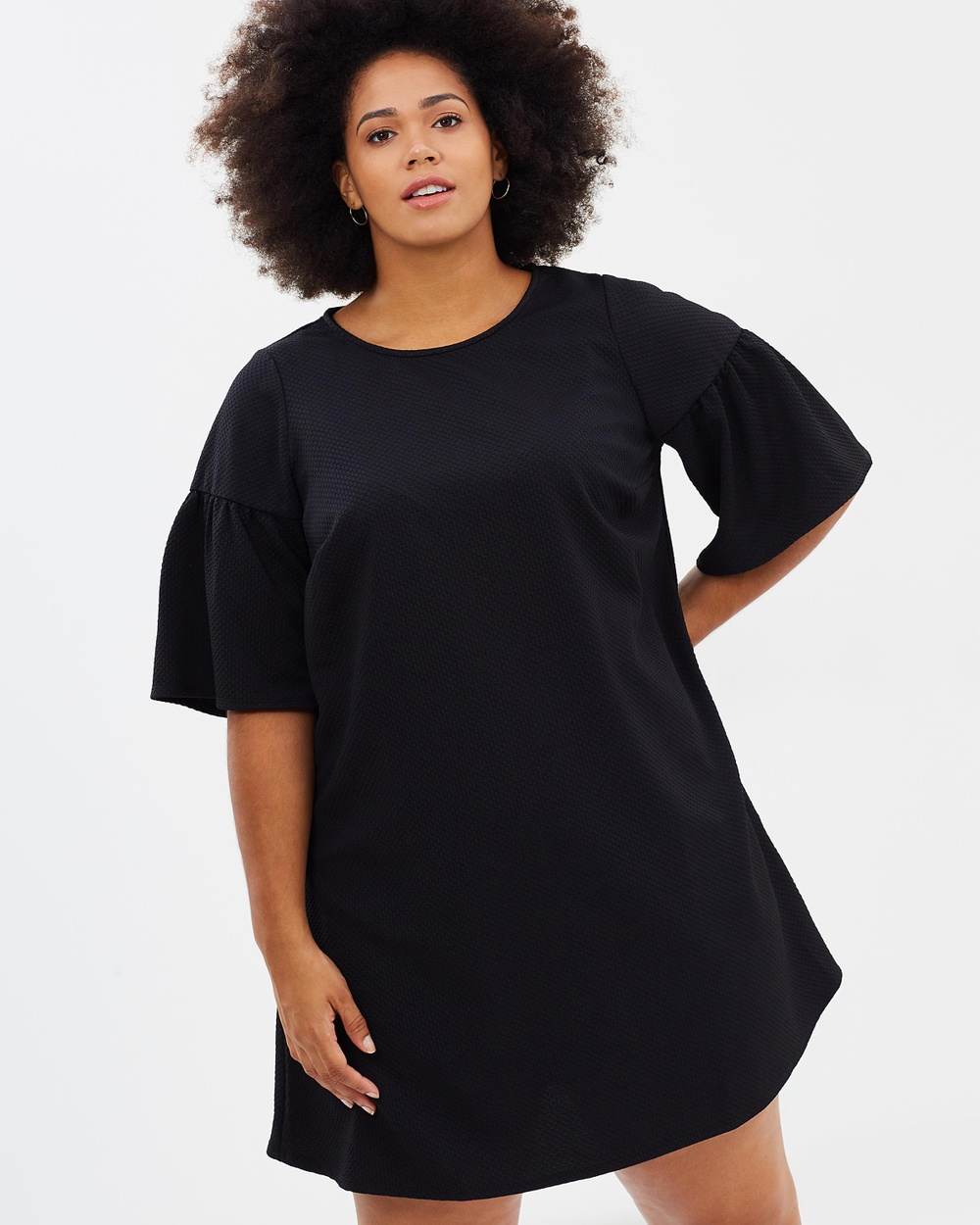 EVANS Ponte Tunic Dress Tops Black Ponte Tunic Dress