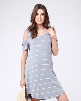Ripe – Cut Out Shoulder Dress – Dresses (Grey/White)