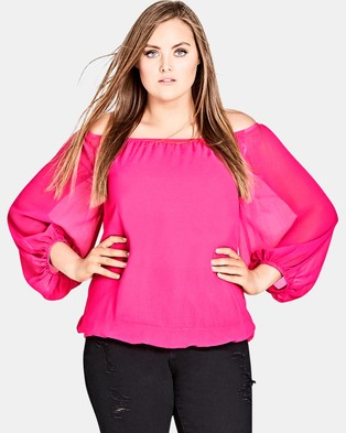 City Chic – Full Sleeve Top Shock Pink