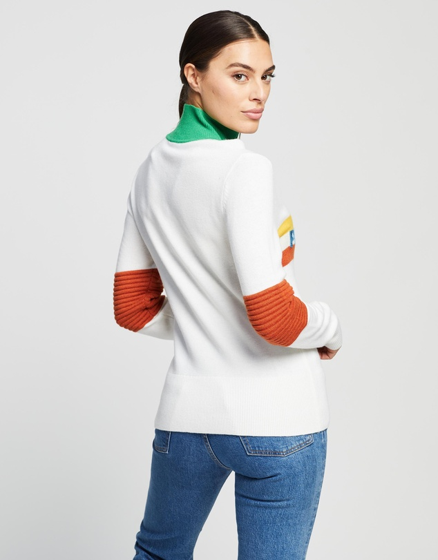 Women Tricolour Knitted Sweater