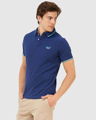 Superdry Poolside Pique Polo - T-Shirts & Singlets (Eclipse Navy)