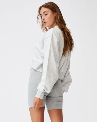 Cotton On Classic Cropped Crew Sweats Light Grey Marle