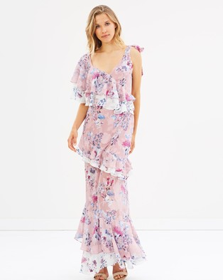 We Are Kindred – Alessandra Ruffle Maxi Dress – Printed Dresses Monet Bloom