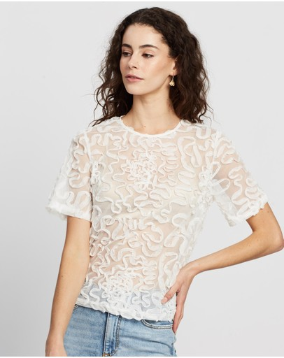 Dorothy Perkins Swirl Mesh Top White