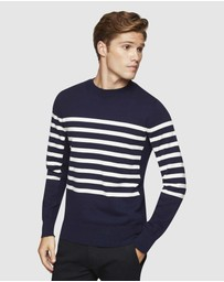Oxford - Tommy Stripe Crew Neck Knit