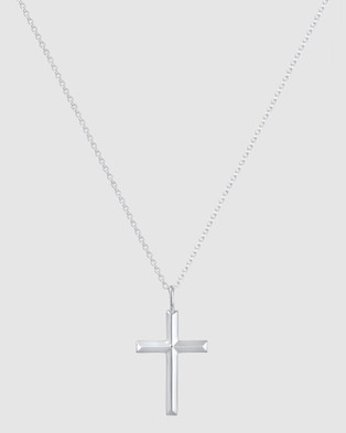 Kuzzoi Necklace Chain with Cross Pendant Massive in 925 Sterling Silver - Jewellery (Silver)