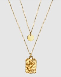 Elli Jewelry - Necklace Layer-Look Geo Organic Platelet in 925 Sterling Silver gold plated
