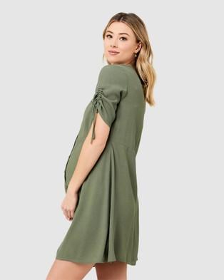 Ripe Maternity Mae Button Through Dress - Dresses (Khaki)