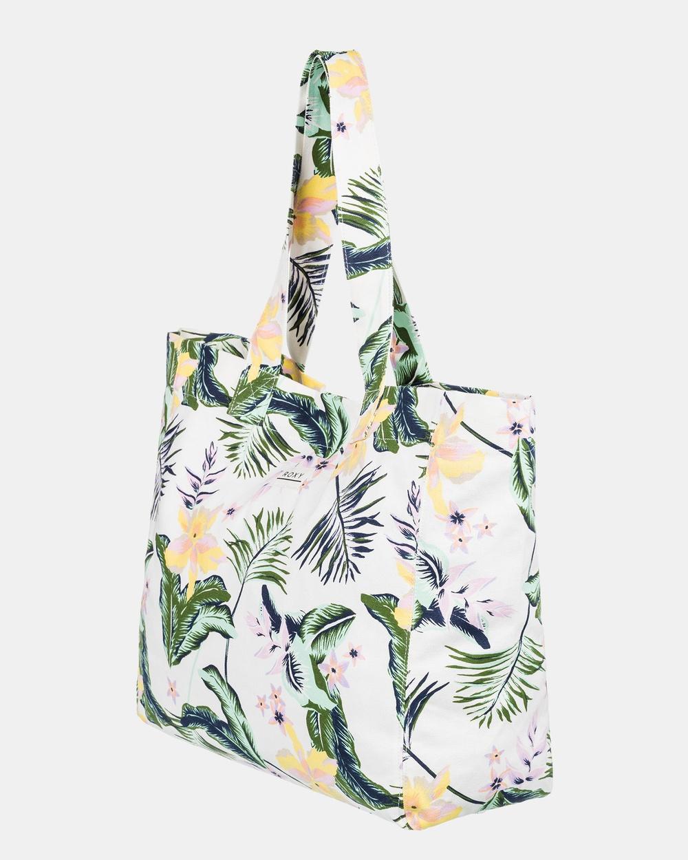 Roxy Womens Anti Bad Vibes Large Tote Bag Bags BRIGHT WHITE PRASLIN