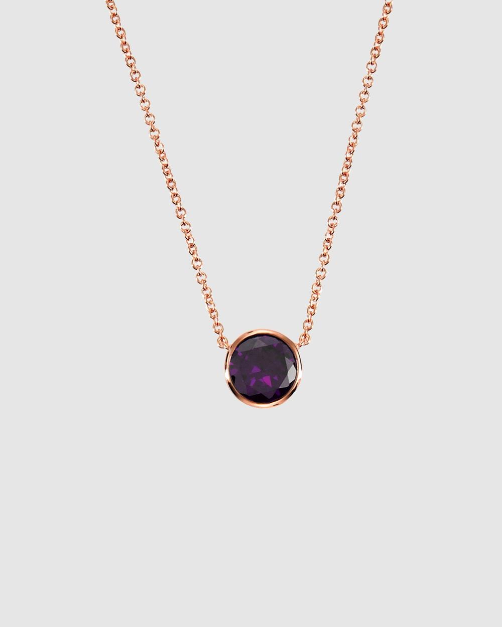 Secret Sisterhood Amethyst Crystal Necklace Jewellery Purple Rose Gold