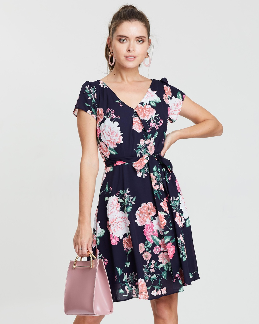 Billie & Blossom by Dorothy Perkins Navy Blue Petite Crop Bloom Crepe Dress