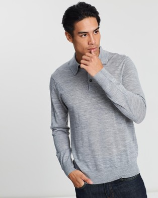 3 Wise Men Long Sleeve Merino Polo - Jumpers & Cardigans (Grey)