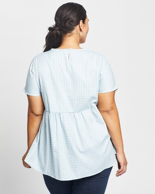 Atmos&Here Curvy Hailey Cotton Top - Tops (Blue Gingham)