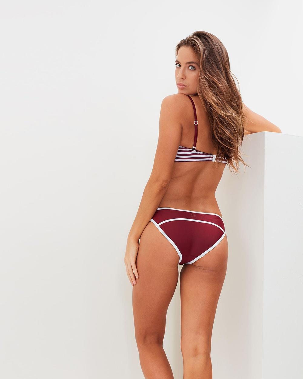 Duskii Hepburn Bikini Bind Pants Bikini Bottoms Burgundy Hepburn Bikini Bind Pants
